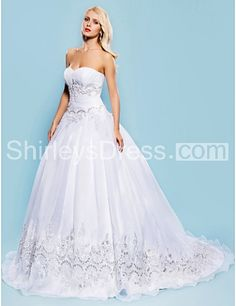 Floor Length Strapless Wedding Dress With Sequin Embroidery