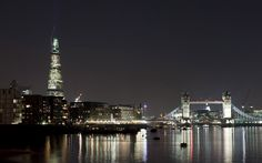 The Shard and Tower Bridge at night  London