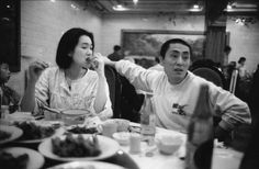Gong Li, with director Zhang Yimou at the Zouping Hotel in Beijing, where they shared a room during the filming of TO LIVE (Huozhe) Nov.1993. He was not allowed to leave China for the projection at Cannes. (Photo: Marc Riboud)