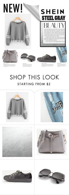 """Shein Gray Sweater Set"" by amelia-carnero ❤ liked on Polyvore featuring KAROLINA, Sweater, gray and shein"