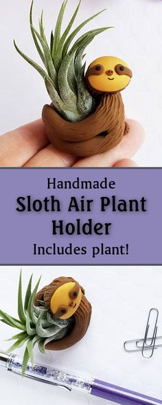 "These little sloth air plant holders (approximately 1.5"" tall) come with an air plant (approximately 2-3"" tall) already in his arms and a care instruction card as well. -$24 Sloths, Gift for Her, Planter, Air Planter, Gift Women, Gift Under 30, Indoor Gardener, Desk Accessory, Etsy"