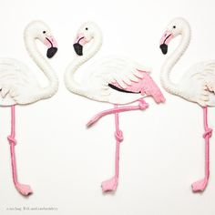 "Flamingo felt and embroidery applique by e.no.bag ""フラミンゴ ノ アップリケ "" #flamingo #felt #embroidery"