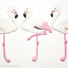 "Flamingo felt and embroidery applique by e.no.bag ""フラミンゴ ノ アップリケ "" #flamingo #felt #embroidery"