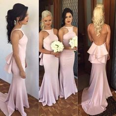 90 Charming Mermaid Satin Prom Dress,Sexy Backless Evening Dress