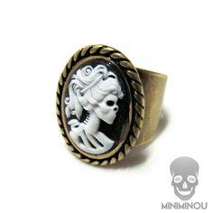 Anel caveira camafeu skull lady - Miniminou