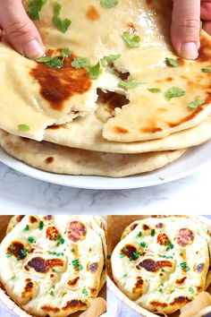 Naan - easy homemade naan recipe using a cast-iron skillet. Soft, puffy, with beautiful brown blisters just like Indian restaurants. Making naan is easy with this step-by-step recipe and video. Food Recipes For Dinner, Food Recipes Deserts Turkish Recipes, Indian Food Recipes, Vegan Indian Food, Indian Vegetarian Recipes, Indian Chicken Recipes, Vegetarian Recipes Videos, Vegetarian Curry, Vegetarian Snacks, Curry Recipes