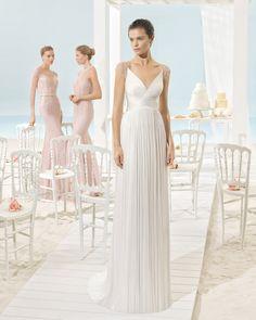 Traje de novia de muselina de seda. Colección 2017 Aire Barcelona Beach Wedding