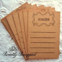 SMILE Lined Journaling Cards 2 x 3 Project by SweetlyScrappedArt, $3.50