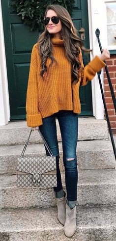 ootd knit + bag + ripped jeans