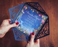 Starry Night Wedding Invitation Midsummer Nights Dream | Etsy Quinceanera Invitations, Blue Wedding Invitations, Wedding Themes, Wedding Favors, Wedding Venues, Quinceanera Planning, Wedding Bands, Wedding Flowers, Wedding Ideas