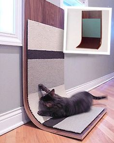 Cat Scratcher  Keep kitty from tearing through another leather couch with this eco-friendly cat-scratcher. Fashioned with renewable poplar wood, the base withstands scratching from even the feistiest of felines. Each board comes with two replaceable carpet tiles in a variety of patterns and colors. Bonus: The C-curve bottom provides the perfect ledge for a quick catnap. $285.