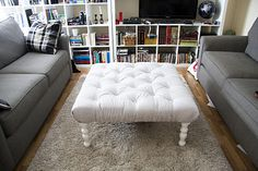 DIY Tufted Ottoman~~Can make out of plywood and 4 x 4 designer posts.