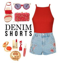 """""""Red-y or Not"""" by meishkamooshka ❤ liked on Polyvore featuring Ally Fashion, Topshop, Cornetti, Preen, Yves Saint Laurent, L'Oréal Paris, jeanshorts, denimshorts and cutoffs"""