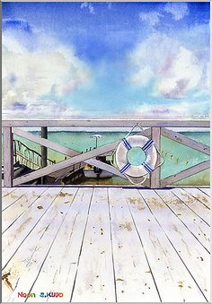 Watercolor Noon 1 Okinawa/水彩画 Noon 1 沖縄の海