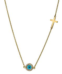 Two of my favourite things in a necklace: Evil Eye cross charm necklace by Belair Gold Design.