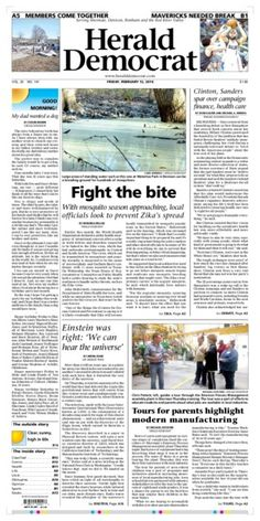A preview of Friday's front page. See more at heralddemocrat.com