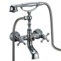 Chrome Clawfoot Bathtub Faucet with Hand Shower Spray - Wall Mount