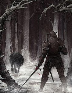 A lone warrior stares down a wolf in the dark woods. This one could go either way, folks.