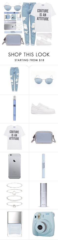 """Casual Day"" by smartbuyglasses ❤ liked on Polyvore featuring Topshop, Ray-Ban, Thierry Mugler, NIKE, Moschino, Valentino, Elemis, Accessorize, Arcona and Fuji"