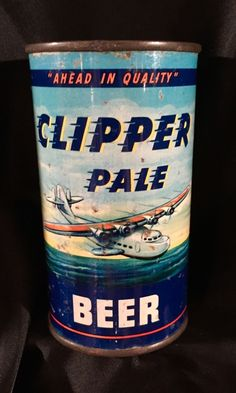 1939 Clipper Pale Flat Top Beer Can - Los Angeles - Stunning, Rare Beer Brewing, Home Brewing, Beer Can Art, Beer Advertisement, Beer History, Beer Can Collection, Old Beer Cans, Beer 101, Beer Cooler