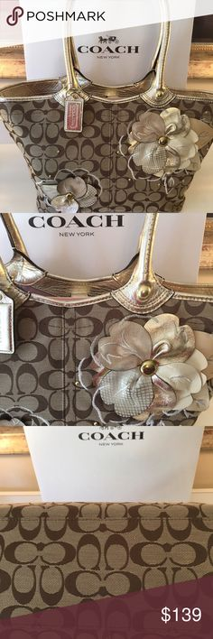 COACH GOLD FLORAL SHOULDER BAG -00% AUTHENTIC COACH BEAUTIFUL FLORAL AND GOLD MONOGRAM SHOULD BAG IN LOVELY CONDITION.  USED ONLY TWICE .  PERFECT BAG FOR ANY OCCASION . THIS BAG MEASURES 17 INCHES WIDE BY 9 INCHES TALL WITH A 9 INCH DROP ON THE HANDLE Coach Bags Shoulder Bags