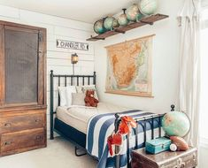 world map themed toddler boy room. I love the use of traveling and globes to decorate a kids room! Chambre Nolan, Beddys Bedding, Boys Bedroom Decor, Bedroom Themes, Bedroom Ideas, New Room, Decoration, Comforter, Dorm Bedding