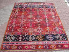 "Pretty rug!  VINTAGE Turkish Kilim Rug Carpet, Handwoven Kilim Rug, Antique Kilim Rug,Decorative Kilim, Natural Wool 77"" X 106"""