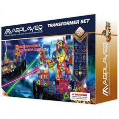 Joc de constructie magnetic MAGPLAYER - 208 piese Transformers, Magnets, Geometry