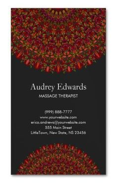 Colorful Flower Mandala Business Card Magnet for 1100