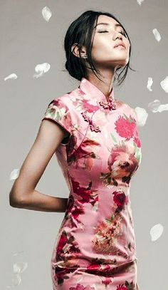 Pink floral qipao