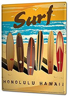 """""""Surf Honolulu Hawaii Retro Poster"""" by Art Licensing Beach Canvas, Canvas Art, Canvas Prints, Art Prints, Large Canvas, Nautical Canvas, Surfing Tattoo, Poster Surf, Surf Posters"""