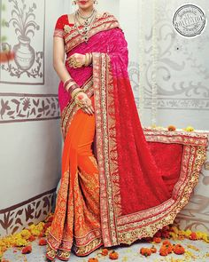 Give Your Feminine Grace A Flamboyant Touch By Wearing This Wedding Special Saree Exclusively From The House Of Simaaya Fashions.