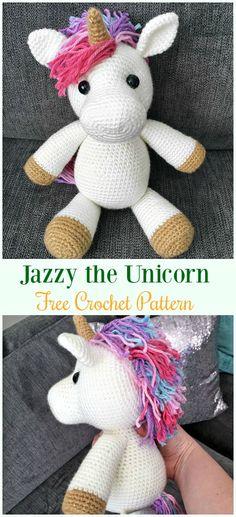 Crochet Jazzy the Unicorn Amigurumi Free Pattern- #Amigurumi Crochet #Unicorn; Toy Softies Patterns