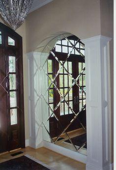 Beveled Mirror Tiles at a Diagonal. Dramatic, stunning in the right place. Mirror Tiles, Beveled Mirror, Niche Decor, Wall Decor, Wall Design, House Design, Formal Living Rooms, Wall Treatments, Interiores Design
