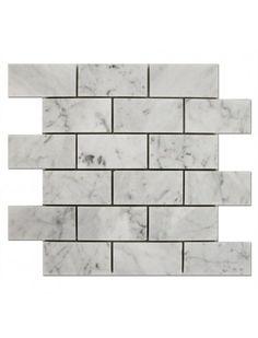 Bianco Carrara 2x4 Brick Pattern Polished Marble Mosaic Tile #bianco_carrara_marble #brick_pattern_mosaic_tile Marble Mosaic, Glass Mosaic Tiles, Carrara Marble, Hardwood Floors, Flooring, Brick Patterns, Wood Floor Tiles, Wood Flooring, Floor