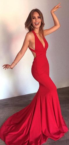 Discount Light Red Mermaid Prom Dresses Eelegant Straps Mermaid Red Long Formal Dress With Train Discount Light Red Mermaid Abendkleider Eelegant Straps Mermaid Red Langes Abendkleid Mit Schleppe Sexy Formal Dresses, Open Back Prom Dresses, Simple Prom Dress, V Neck Prom Dresses, Cheap Prom Dresses, Prom Party Dresses, Homecoming Dresses, Formal Prom, Long Fitted Prom Dresses