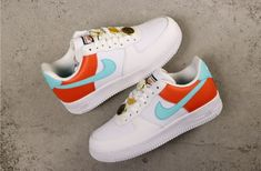 Nike Air Force 1 White Aqua Clay Basketball Lace Locks for women Girls Sneakers, Girls Shoes, Sneakers Fashion, Ladies Shoes, Nike Fashion, Fashion Shoes, Nike Shoes Air Force, Nike Air Force Ones, Custom Painted Shoes