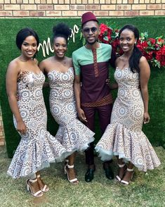 shweshwe dresses trends of 2019 - Reny styles African Print Wedding Dress, African Bridesmaid Dresses, African Wedding Attire, African Attire, African Dress, African Wear, African Weddings, African Clothes, African Style