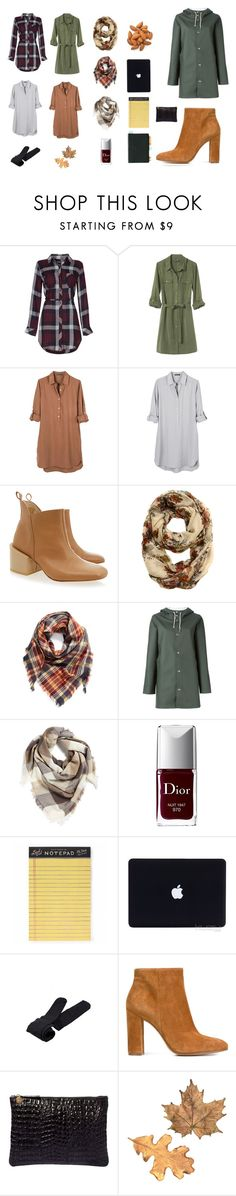 """""""shirt dress for autumn"""" by ghei on Polyvore featuring mode, Banana Republic, United by Blue, Carin Wester, BP., Stutterheim, Christian Dior, Rifle Paper Co, Plush et Gianvito Rossi"""