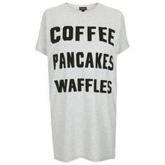 TOPSHOP Coffee, Waffles, Pancakes Tee (685 EGP) ❤ liked on Polyvore featuring tops, t-shirts, shirts, pajamas, dresses, light grey marl, coffee shirts, slogan t shirts, waffle knit shirt and light grey shirt
