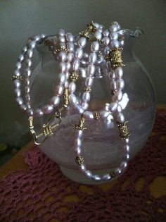 Mauve Freshwater Pearl and Gold Vermeil Necklace by pammaggio