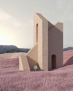 Minimalist Architecture, Architecture Design, Thelma Y Louise, Modelos 3d, 3d Rendering, Photos, Pictures, Digital Art, Landscape