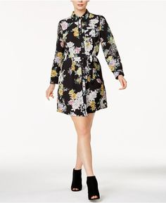Maison Jules Floral-Print Shirtdress, Created for Macy's - Black XXS Collared Shirt Dress, Floral Shirt Dress, Long Shirt Dress, Collar Dress, Floral Dresses, What To Wear Fall, How To Wear, Review Dresses, Floral Prints