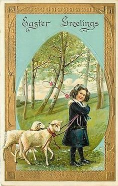 EASTER-LITTLE GIRL LEADING SHEEP IN GRASS-MAILED 1909-Q47753