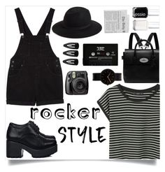 """""""Rocker chic"""" by xniko ❤ liked on Polyvore featuring Monki, Mulberry, Hinge, Essie, Uniform Wares, Fujifilm, rockerchic and rockerstyle"""
