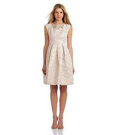 Eliza J Beaded Jacquard Fit-and-Flare Dress | Dillard's Mobile