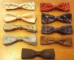 Vintage, 9-Piece Lot, Clip-on, Silk, Bow Ties (1950s) #RoyalRust #BowTie #Everyday