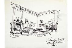 Sketch of Elsie de Wolfe's bathroom in Paris. Marker on tracing paper. Interior Design History, Interior Rendering, Albert Hadley, Elsie De Wolfe, Markers, Sketches, Paintings, America, Paris