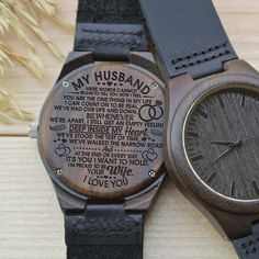 Watch For Men – Great Gift For Husband Engraved Wooden Watch – Perfect Gift For Your Husband - Diy gift For Kids Ideen Bday Gifts For Him, Surprise Gifts For Him, Thoughtful Gifts For Him, Romantic Gifts For Him, Gifts For Fiance, Best Gift For Husband, Special Gifts For Him, Love Gifts, Great Gifts
