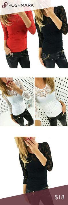 Long Sleeve Blouse Shirt Women Lace Tops ?Long Sleeve Blouse Shirt Women Tops Shirt  100% new with tag Blouse Shirt O-neck,3/4 sleeve Size: S-XL 3 colors choose Tops Blouses